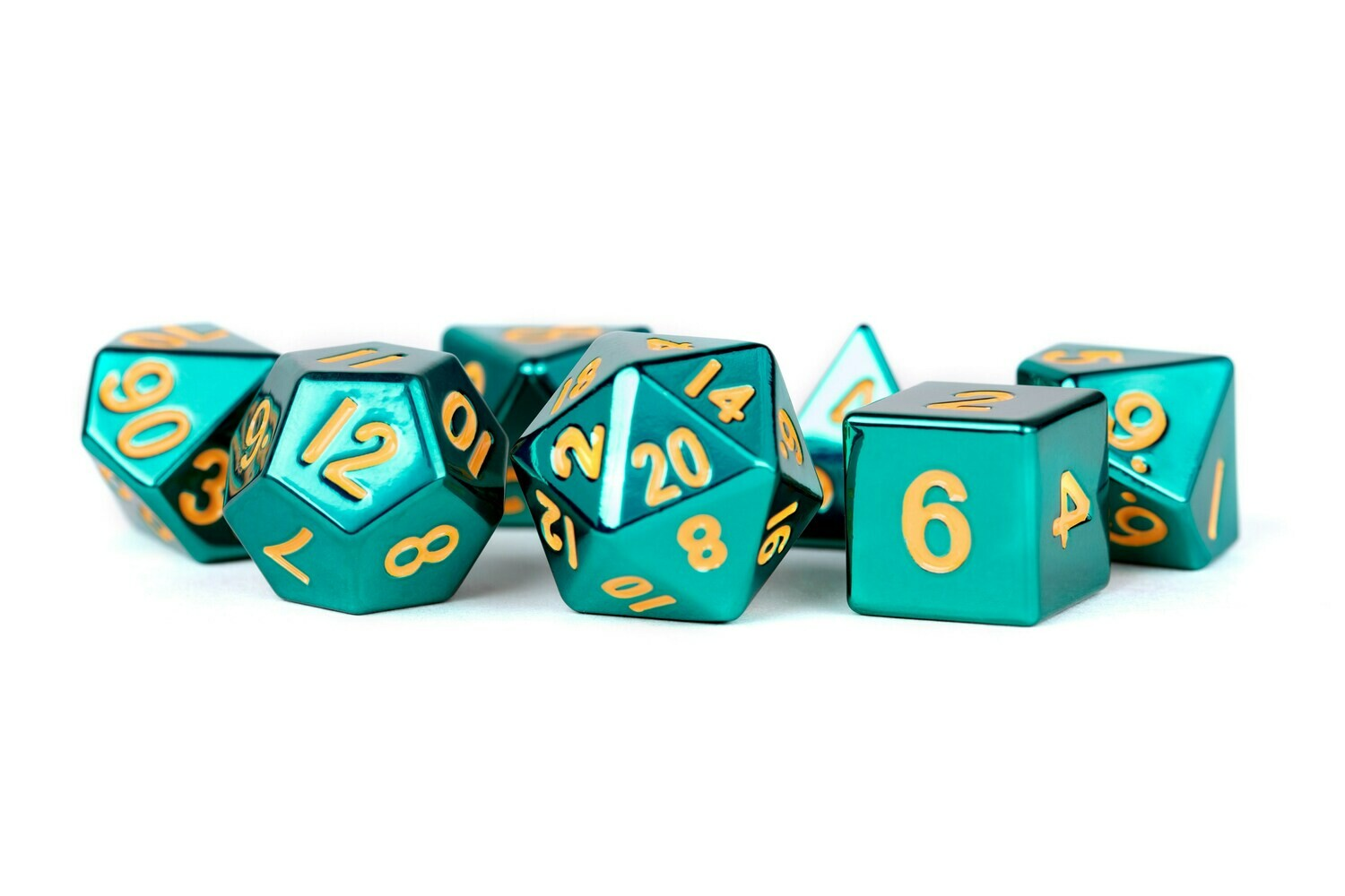 Metal Turquoise with Gold Numbers 16mm Polyhedral Dice Set (or Individually)