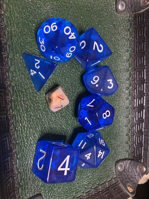 Jumbo Transparent Blue Polyhedral Set 7 Dice Set - Role Playing Games Tabletop