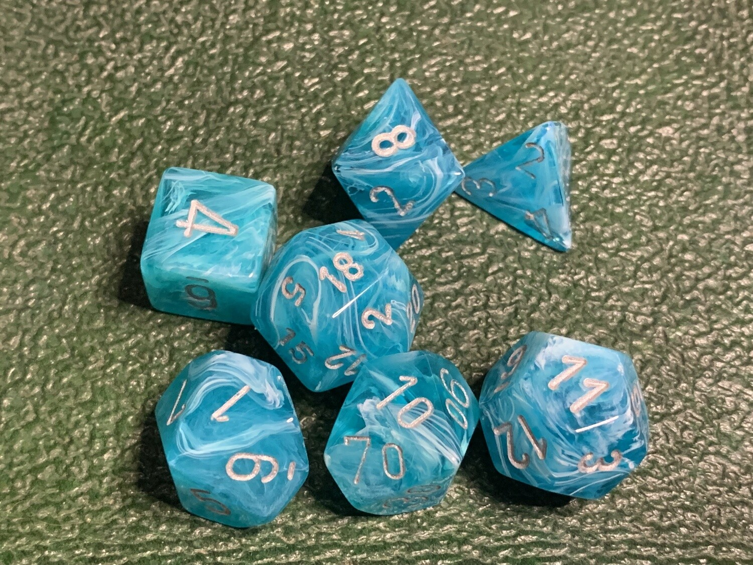 16mm 7 Die Polyhedral Dice Set - Cirrus Aqua with Silver