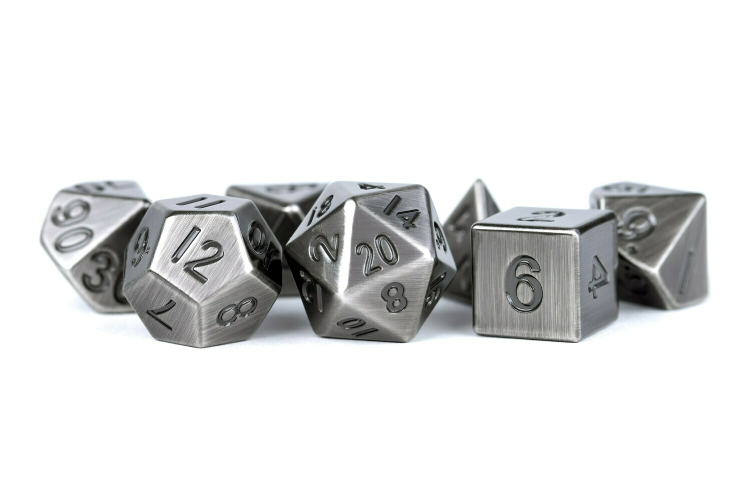 Metal Antique Silver 16mm Polyhedral Dice Set (or Individually)