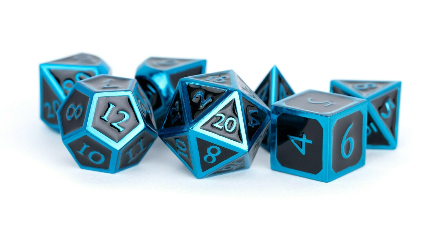 Metal Blue with Black Enamel 16mm Polyhedral Dice Set (or Individually)