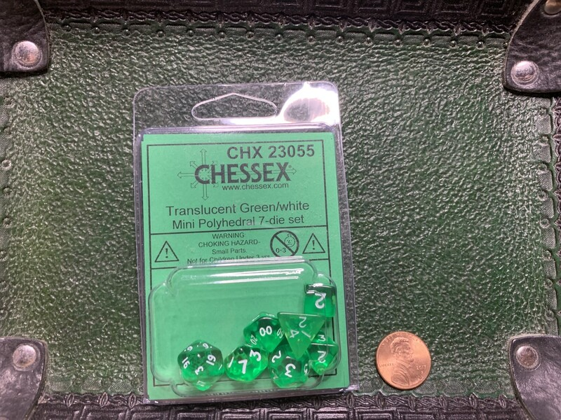 Chessex Transparent Mini Poly 7 Dice Set - Green