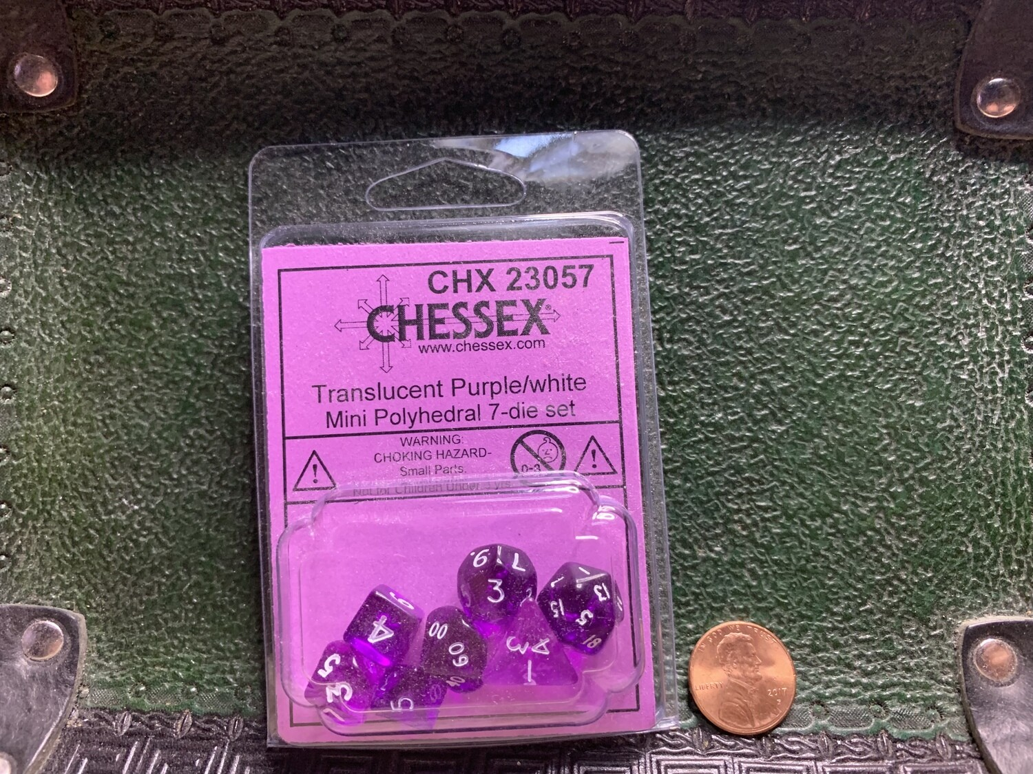 Chessex Transparent Mini Poly 7 Dice Set - Purple