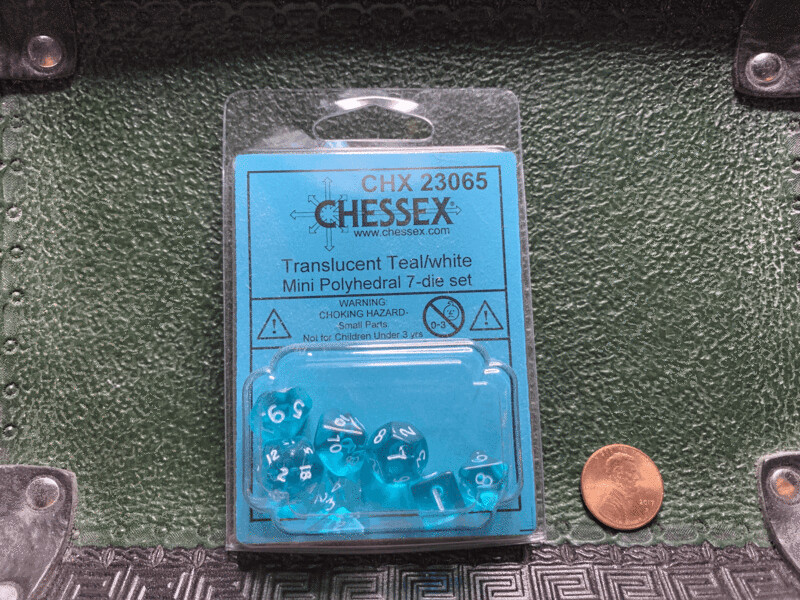 Chessex Transparent Mini Poly 7 Dice Set - Teal