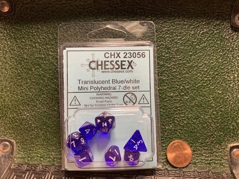 Chessex Transparent Mini Poly 7 Dice Set - Blue