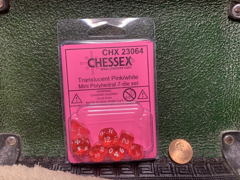 Chessex Transparent Mini Poly 7 Dice Set - Pink