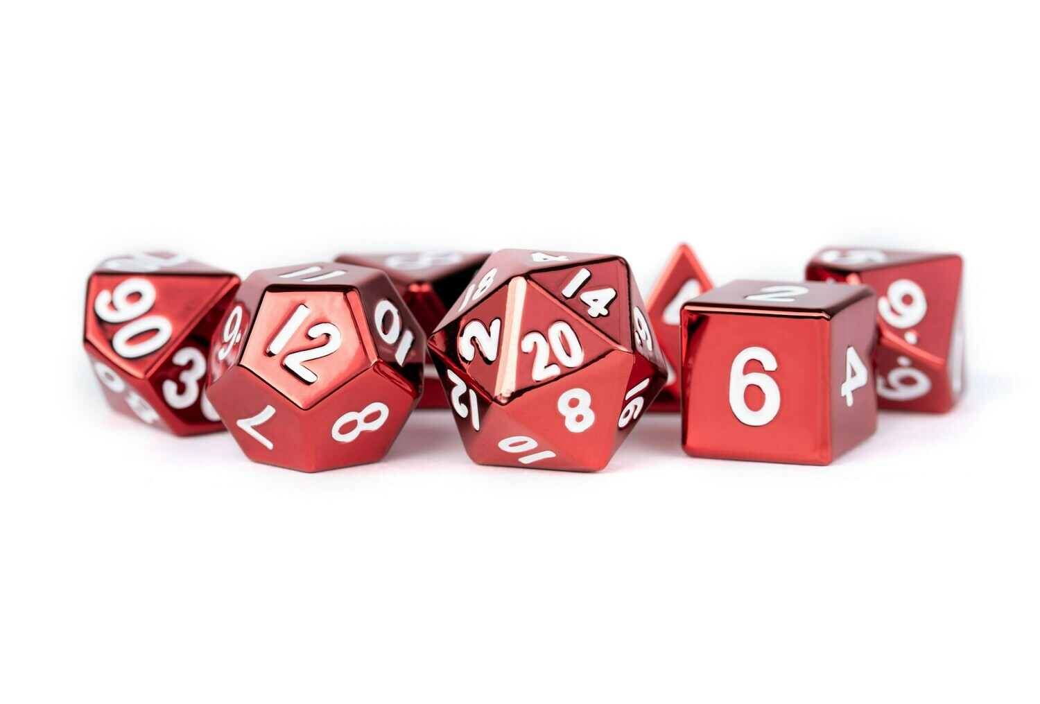 Metal Red 16mm Polyhedral Dice Set (or Individually)