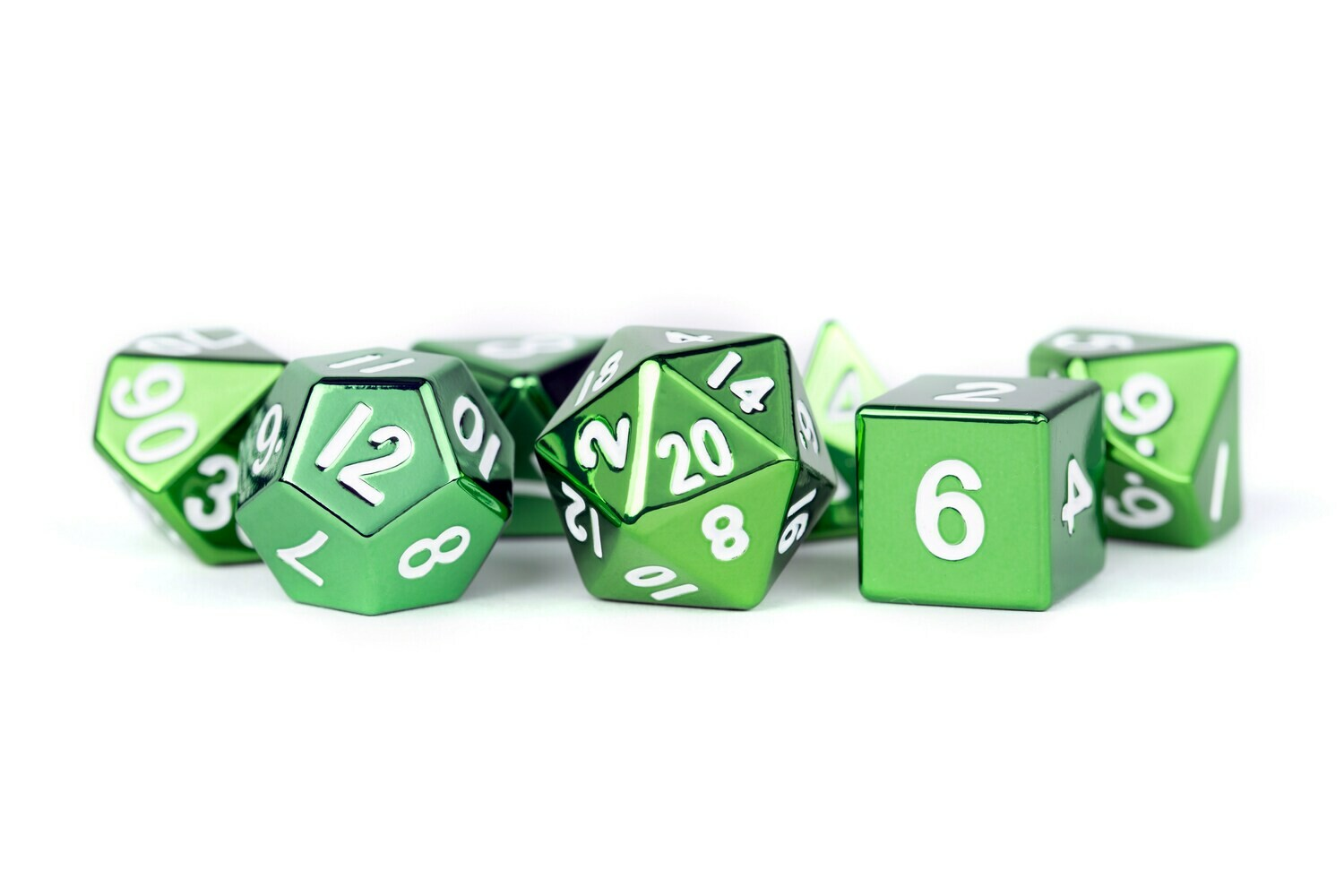 Metal Green 16mm Polyhedral Dice Set (or Individually)