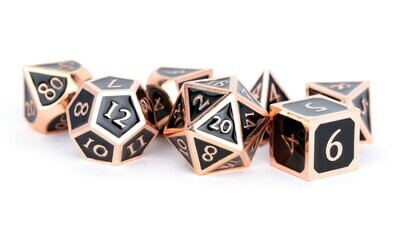Metal Antique Copper with Black Enamel 16mm Polyhedral Dice Set (or Individually)