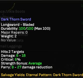 Dark Thorn Sword - Shroud of the Avatar