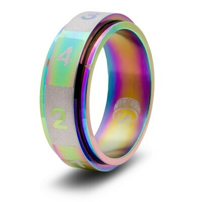 4-sided (D4) Dice Random Number Spinner Ring - Rainbow, Black, Blue, or Gold!