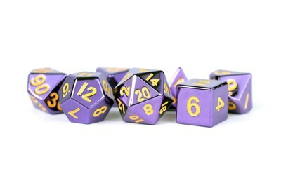 Metal Purple with Gold Numbers 16mm Polyhedral Dice Set