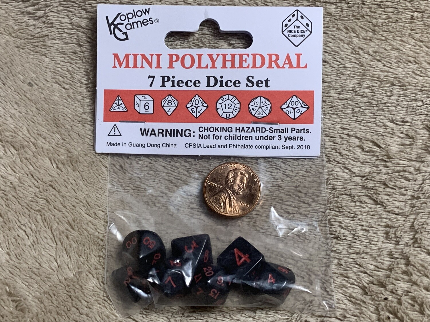 Mini Polyhedral 7 Dice Set - Black with Red Ink