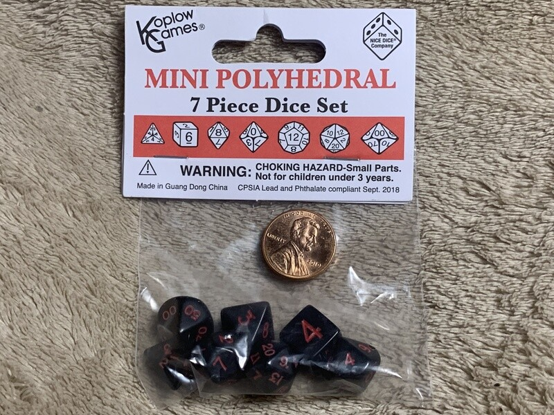 Mini Polyhedral 7 Dice Set - Black with Red Ink CCG Board Games RPG Gaming Tabletop Roleplay