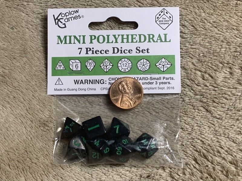 Mini Polyhedral 7 Dice Set - Black with Green Ink RPG Gaming Tabletop Board CCG Counters Tokens Markers