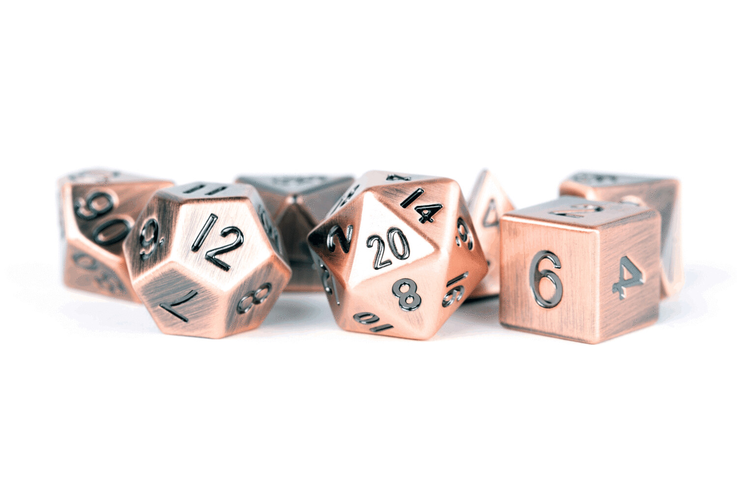 Metal Antique Copper 16mm Polyhedral Dice Set (or Individually)