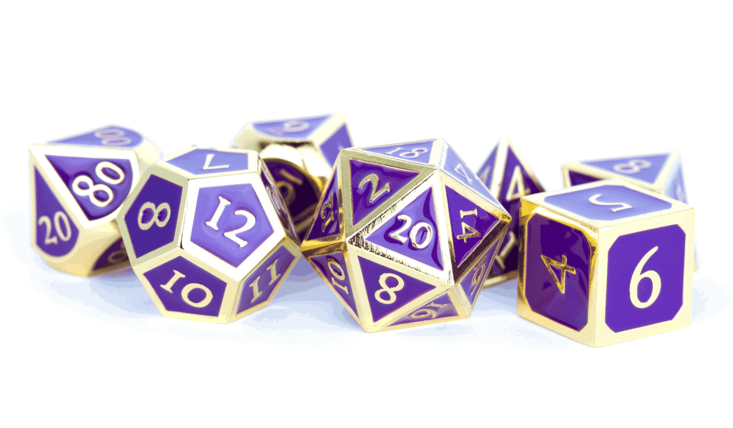 Metal Gold with Purple Enamel 16mm Polyhedral Dice Set (or Individually)