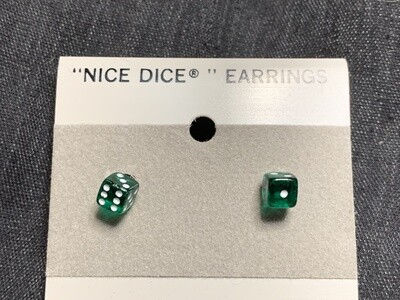 5mm Transparent Green Dice Post Earrings