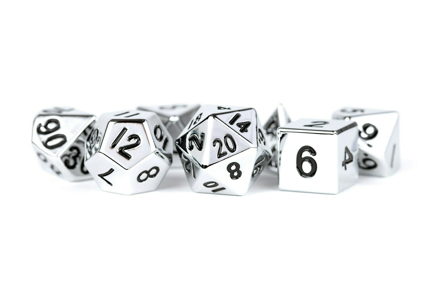 Metal Silver 16mm Polyhedral Dice Set