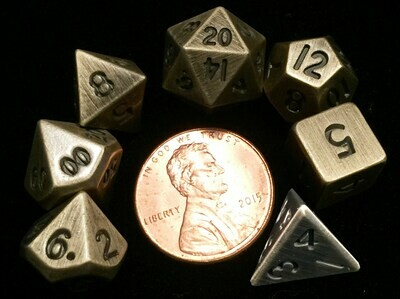 Antique Gold Mini 10mm Polyhedral Dice Set