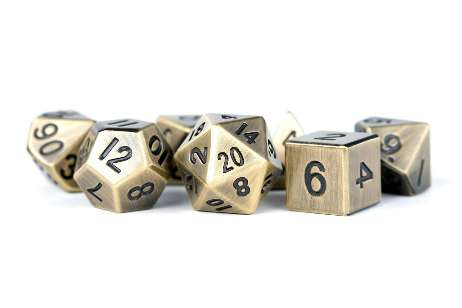 Metal Antique Gold 16mm Polyhedral Dice Set (or Individually)