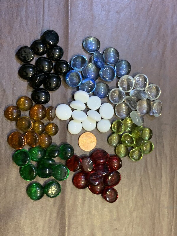 Glass Faux Gemstone Life Counter Tokens Bag of 20 - Color of Choice