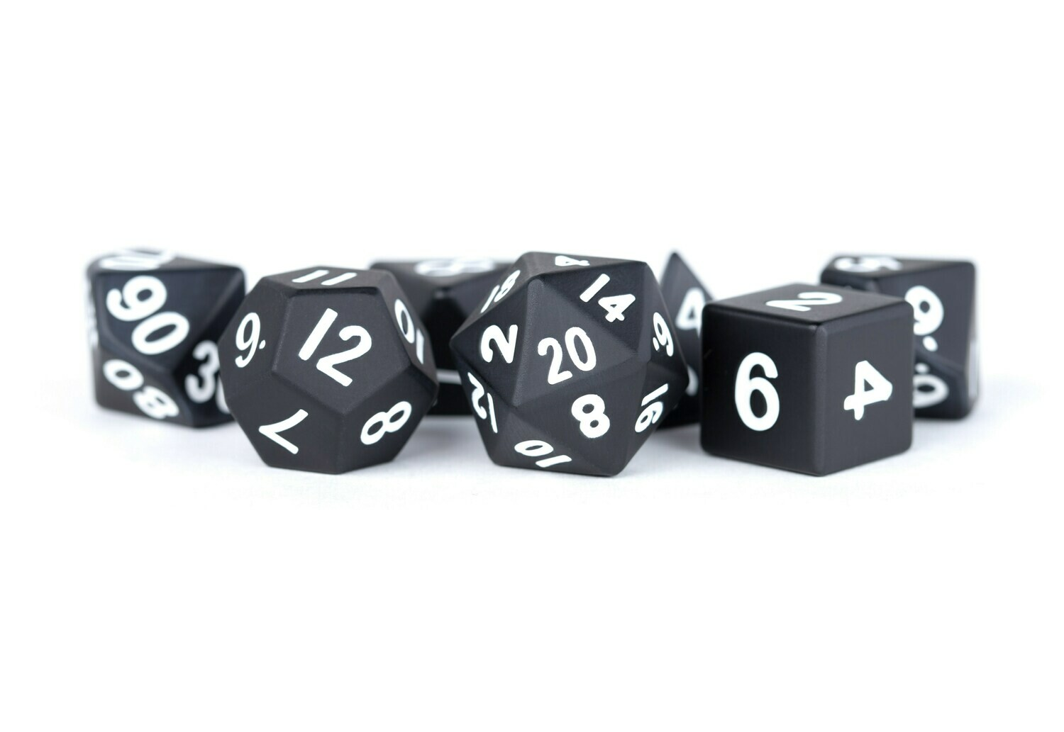 Metal Black 16mm Polyhedral Dice Set (or Individually)