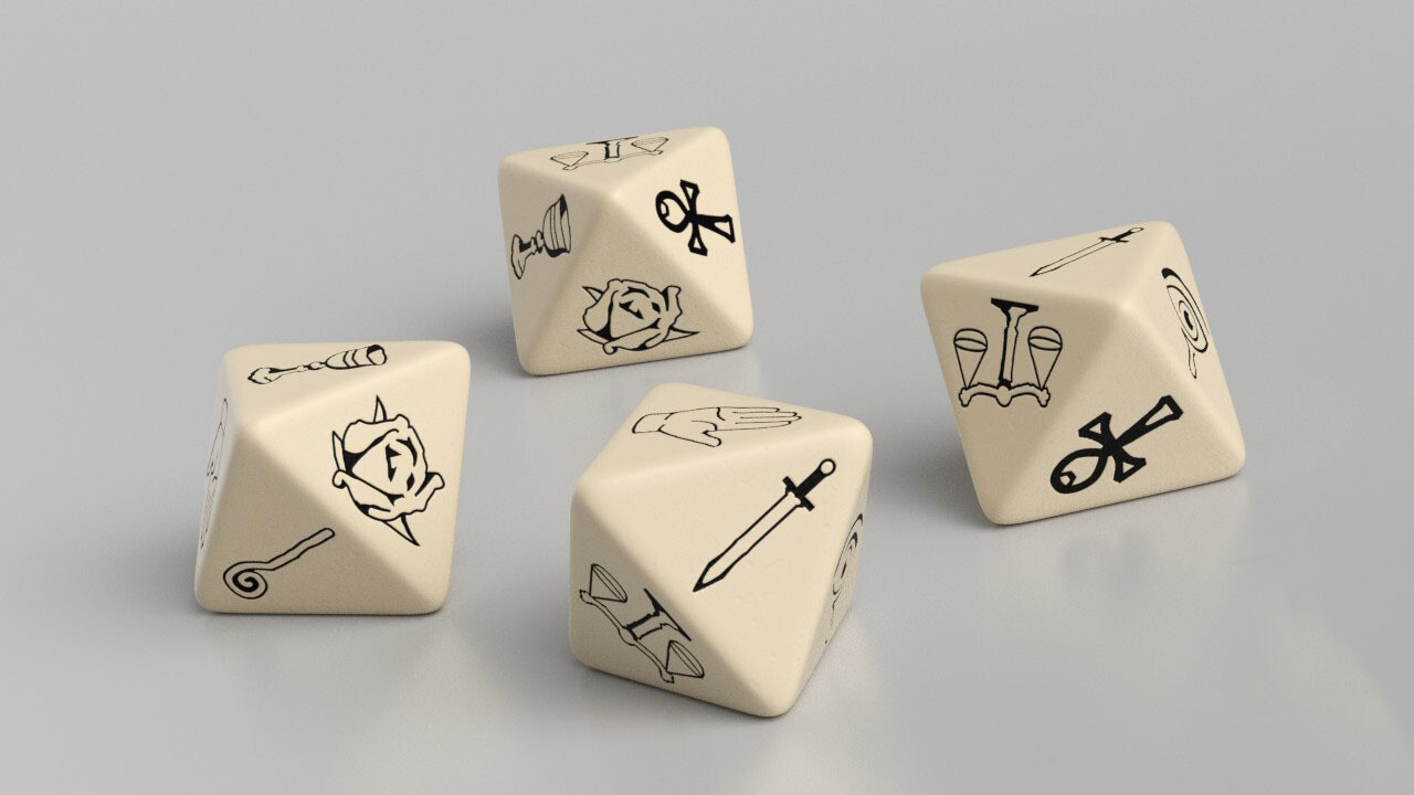 Virtue D8 (Eight Sided) Custom Symbol Dice AKA The VD8 - With Optional Add-ons!