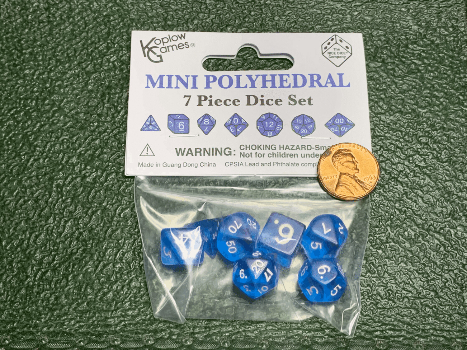 Mini Polyhedral 7 Dice Set - Transparent Blue with White