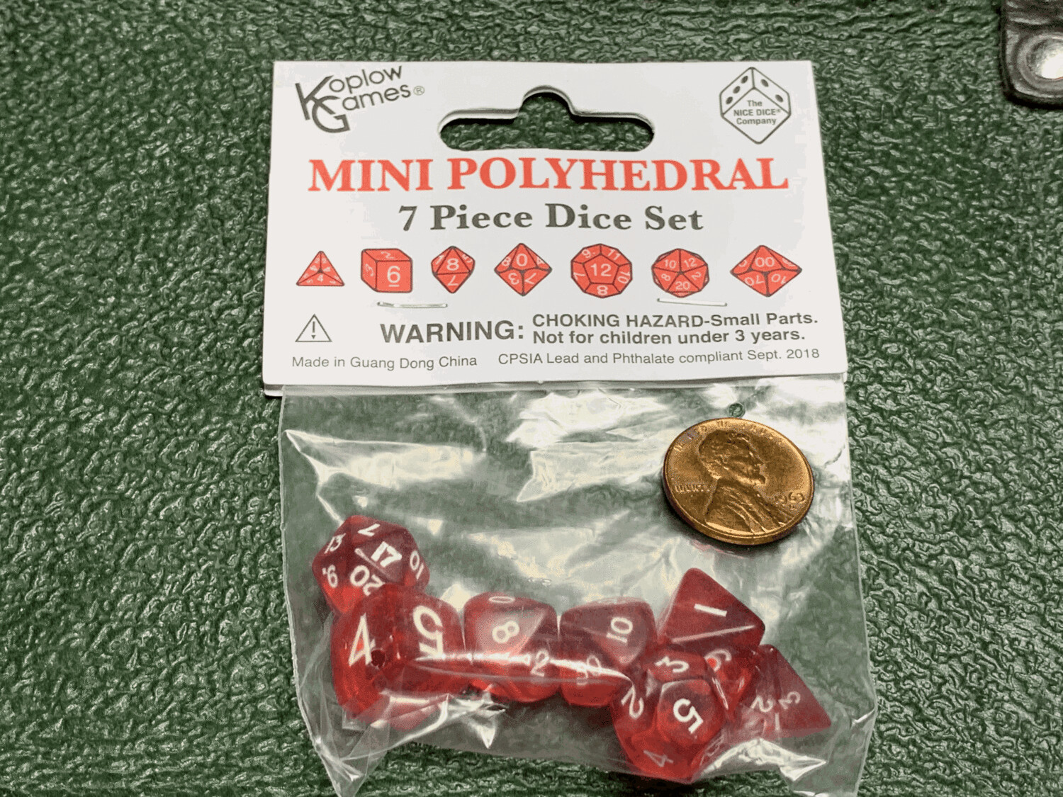 Mini Polyhedral 7 Dice Set - Transparent Red with White