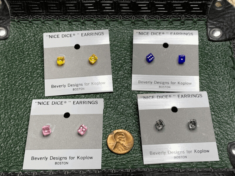 5mm Dice Post Earrings - Transparent Yellow, Blue, Pink, or Clear