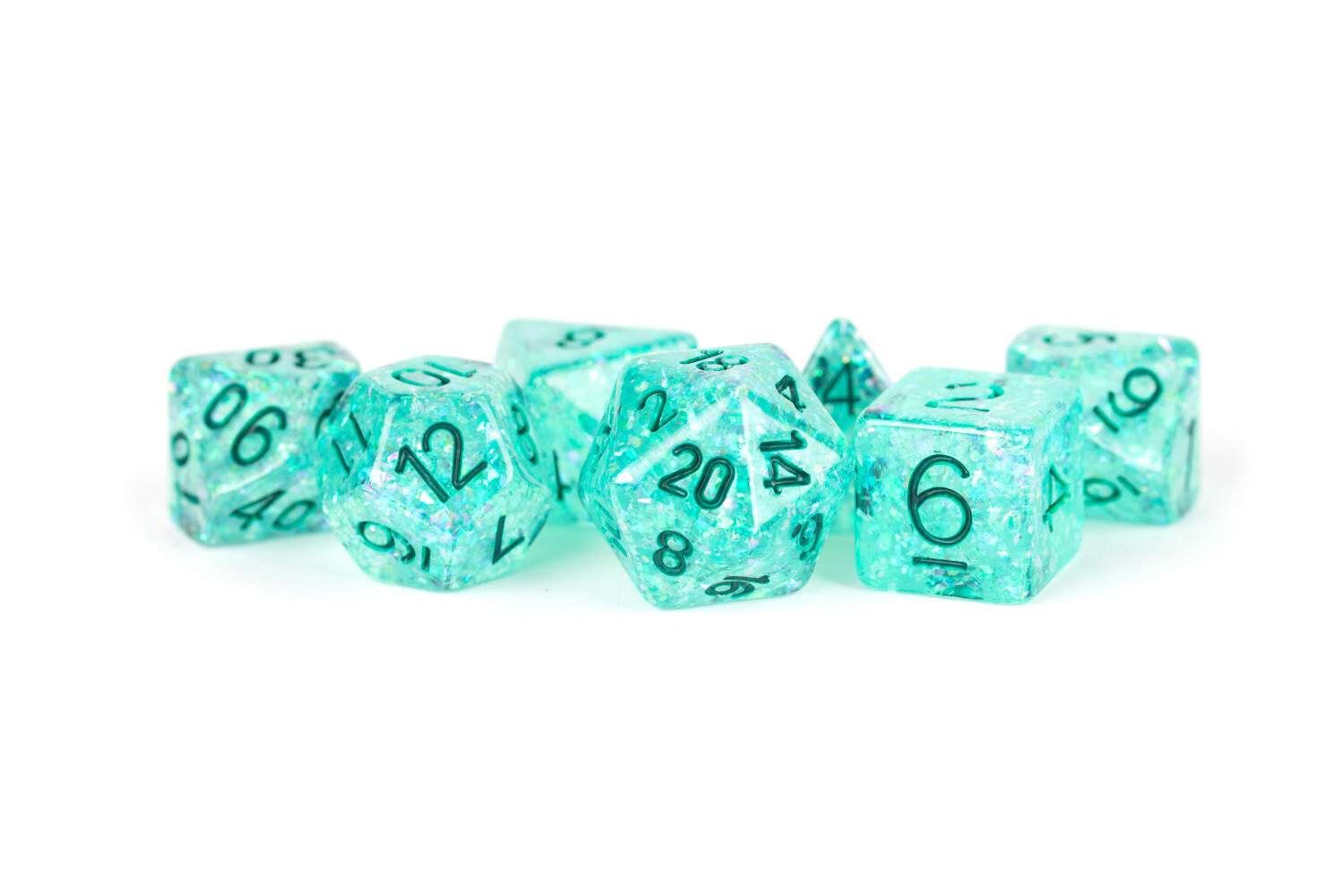 16mm Resin Flash Dice Poly Dice Set: Teal