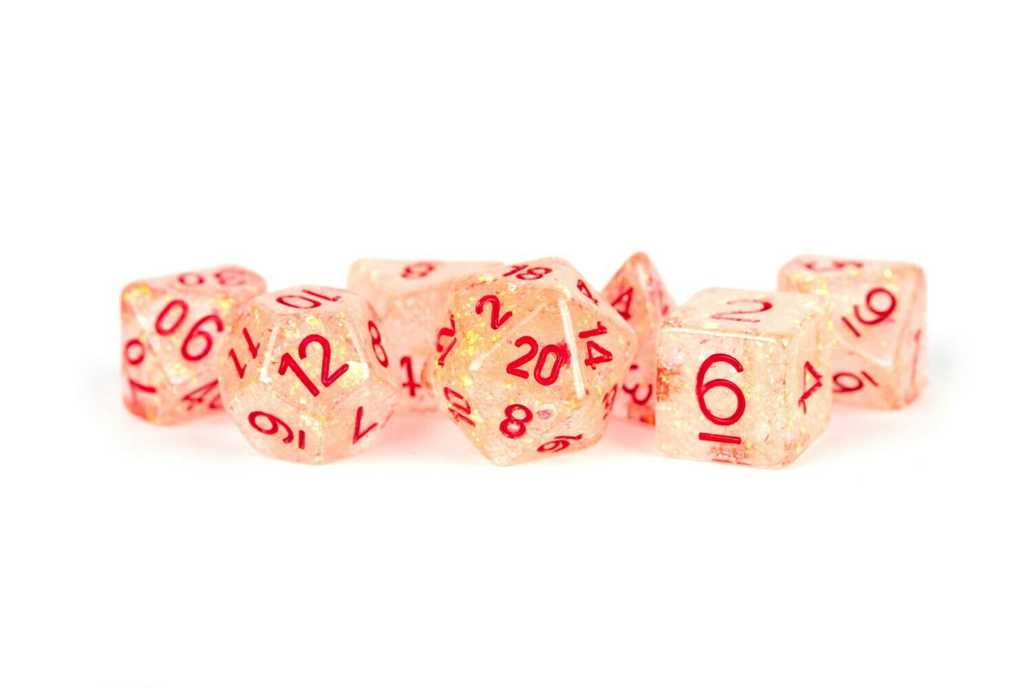 16mm Resin Flash Dice Poly Dice Set: Red