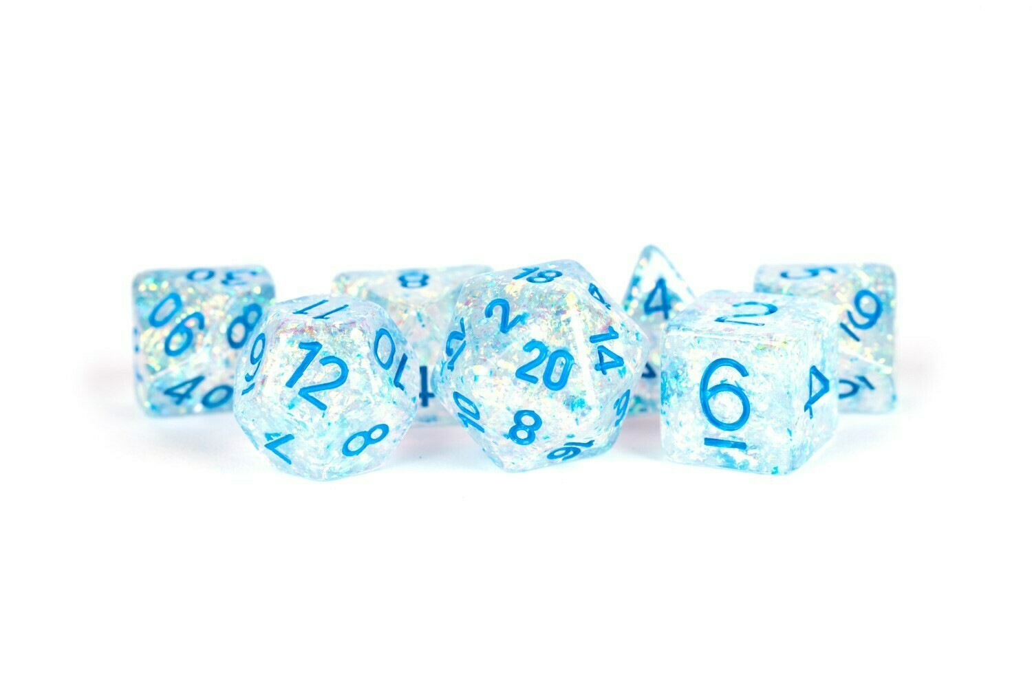 16mm Resin Flash Dice Poly Dice Set: Clear with Light Blue Numbers