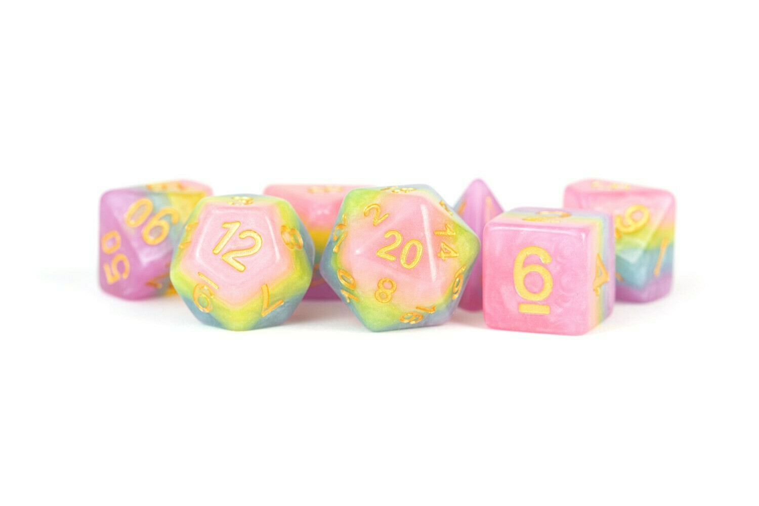 Pastel Fairy 16mm Resin Poly Dice Set