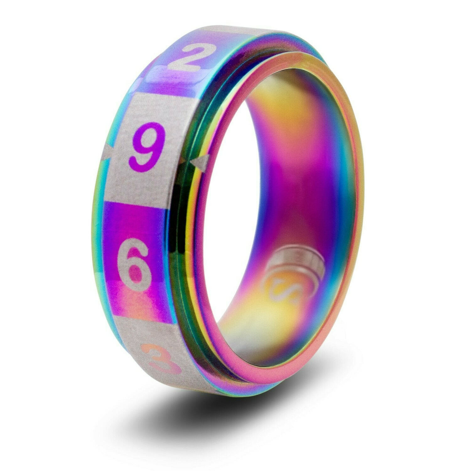 10-sided (D10) Dice Random Number Spinner Ring - Rainbow, Black, Blue, or Gold!