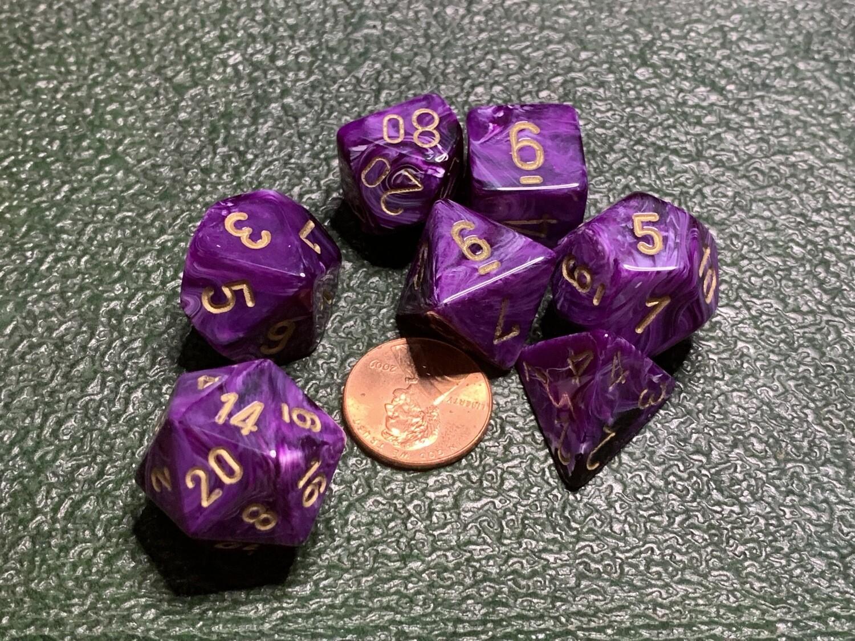 16mm 7 Die Dice Polyhedral Set - Chessex Vortex Purple with Gold