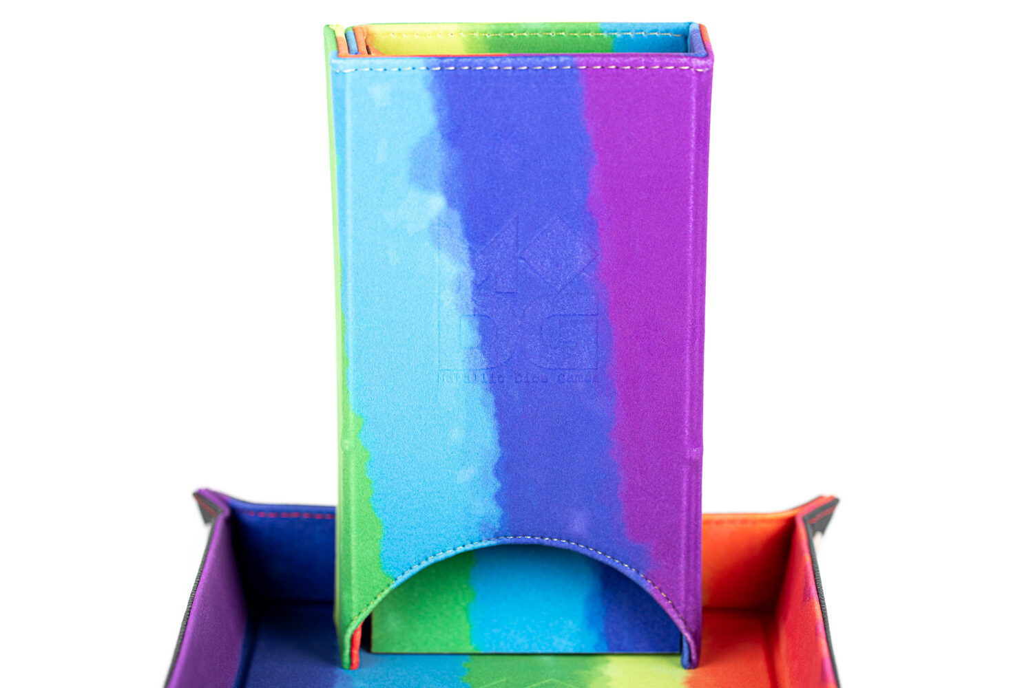 Fold Up Dice Tower For Polyhedral Gaming Dice RPG Role Play Watercolor Rainbow