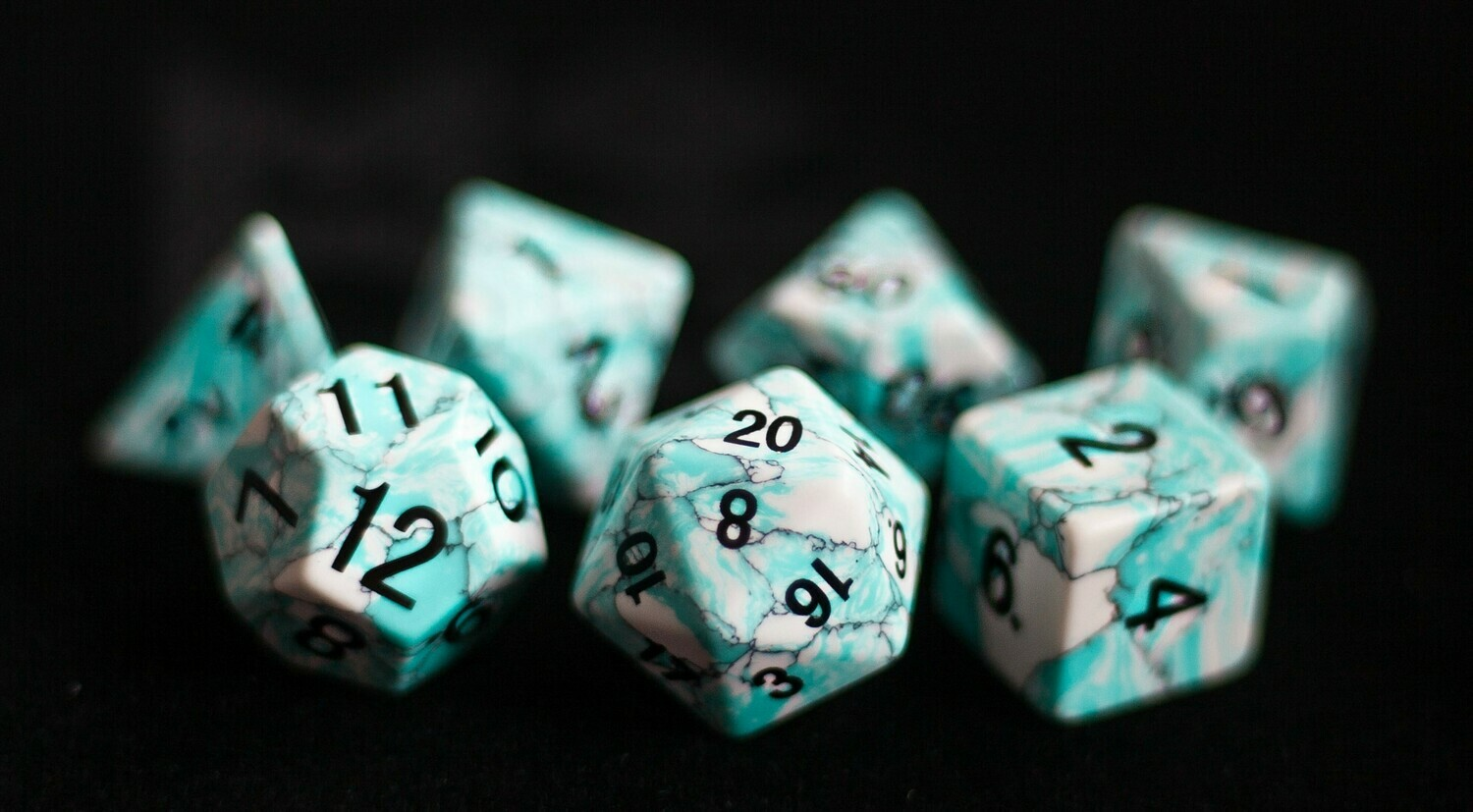 Blue Turquoise: Full-Sized 16mm Polyhedral Dice Set Tabletop Role Playing Game