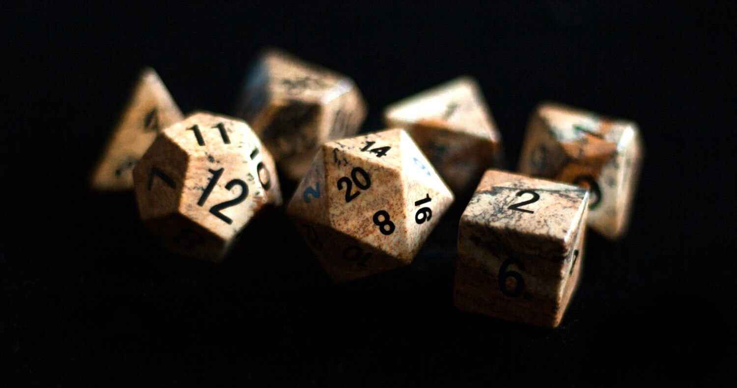 Picture Jasper: Full-Sized 16mm Polyhedral Dice Set Tabletop Role Playing Game