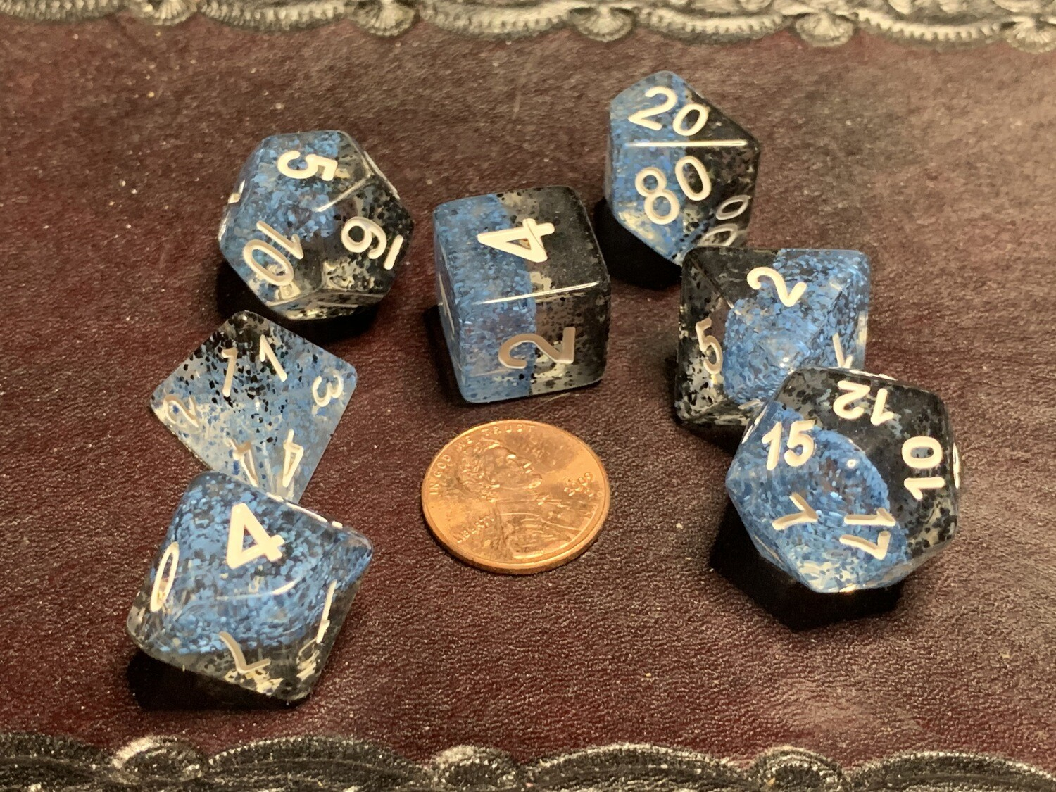 Particle Blue And Black 16mm Resin Poly Dice Set Tabletop Role Play Gaming Game