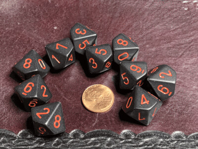 Chessex Dice 10d10 Black with Red Tabletop Roleplay Gaming RPG Board Percentile