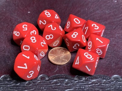 Chessex Dice 10d10 Red with Black Tabletop Roleplay Gaming RPG Board Percentile