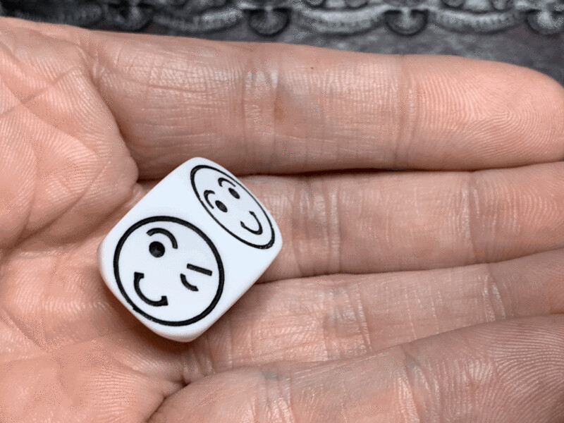 18mm Dice Smile Face Die White with Black Tabletop Gaming RPG Roleplay Mood