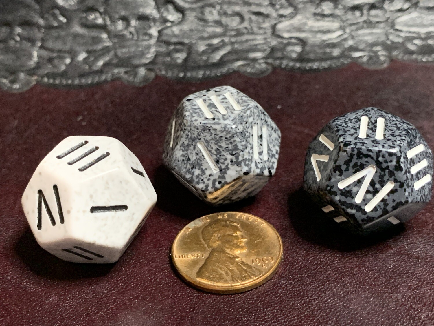 Speckled Roman Numeral D4/D12 Dice Die Tabletop RPG Gaming