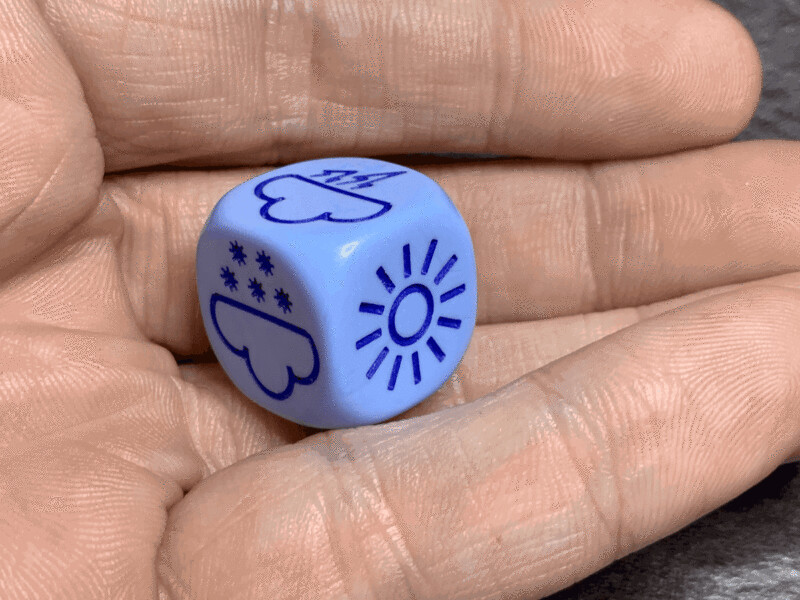 16mm Dice Weather Die D6 (Six Sided) Blue with Blue Tabletop RPG Gaming GM Aid
