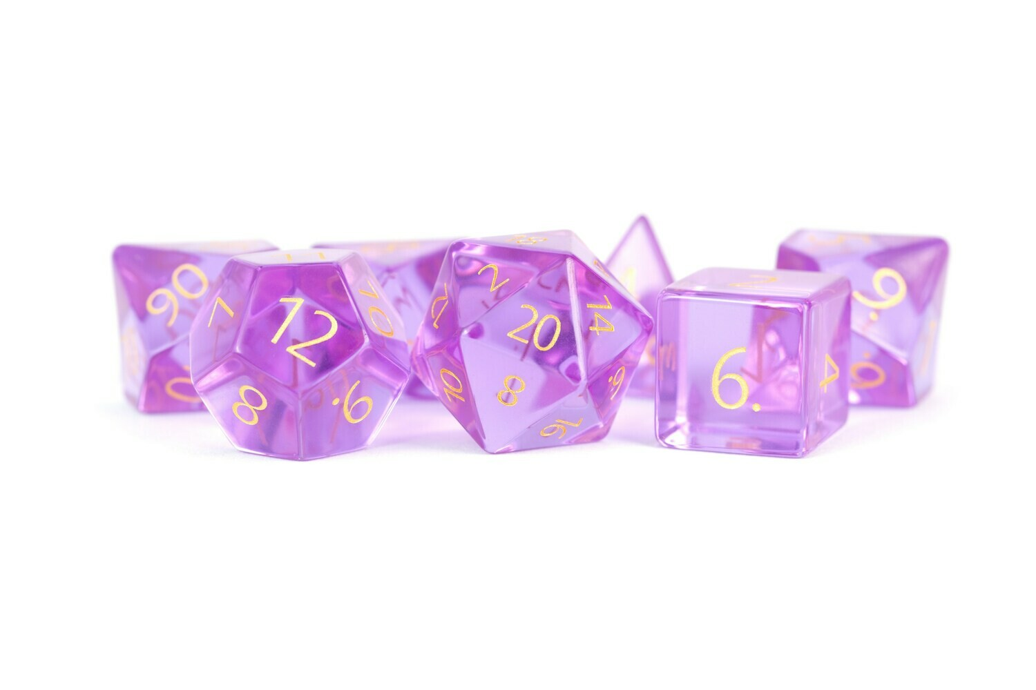 Zircon Glass Birthstone Dice: February Amethyst Tabletop RPG Gaming Games