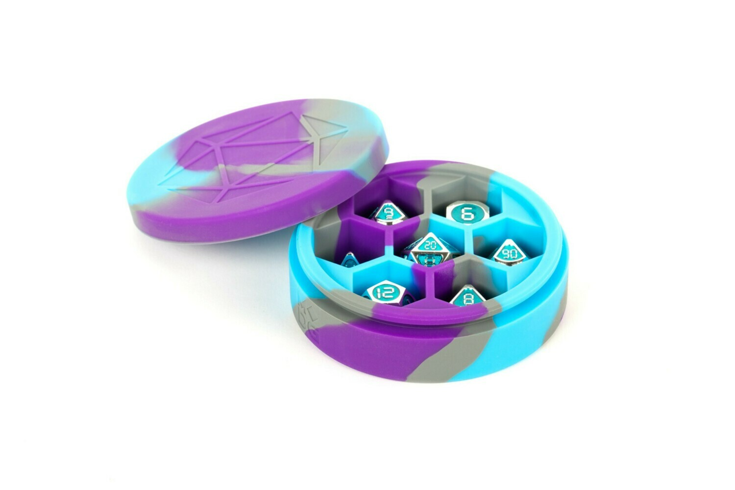 Silicone Round Dice Case Polyhedral Gaming Dice RPG Role Play Purple, Gray, Light Blue