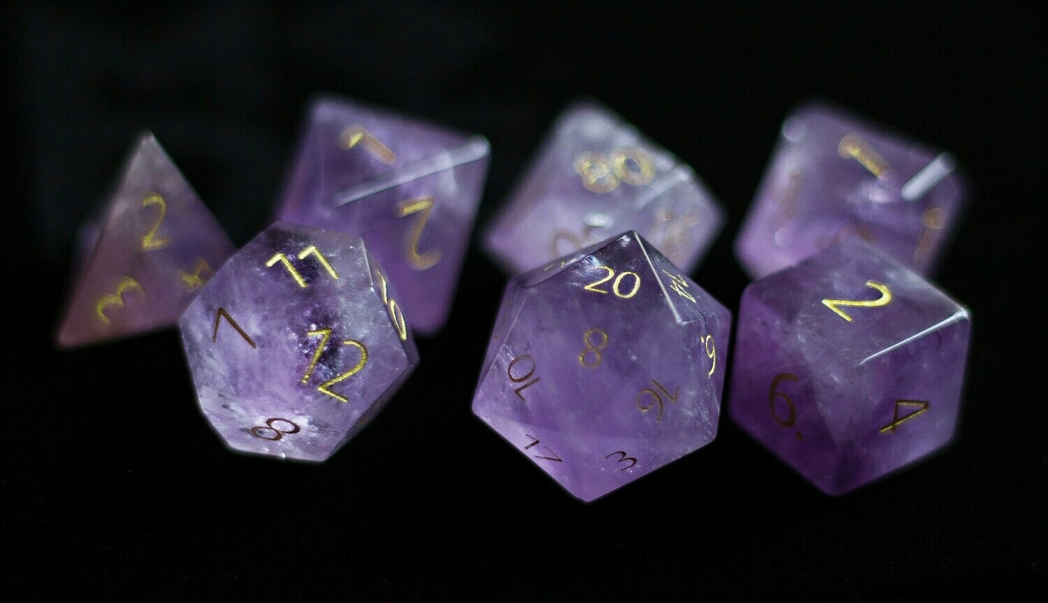 Engraved Amethyst: Full-Sized 16mm Polyhedral Dice Set RPG Tabletop Gaming Games