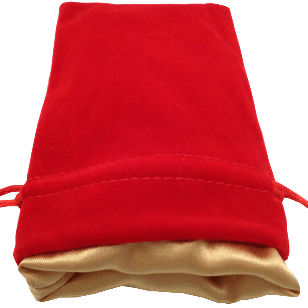 Velvet Dice Bag With Satin Liner 4″x6″ Red with Gold - Drawstring Pouch Jewelry